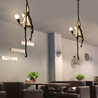 Retro Resin Monkey Hemp Rope Pendant Light Industrial Ceiling Lamp Chandelier US