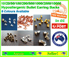 10 -10000 Earring Backs Backing Backings Stops Metal Bullets Nuts Gold Silver