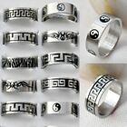 5/10x Wholesale Men's Stainless Steel Silver Gothic Punk Rings Finger Biker Ring