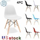 4 Pcs Plastic Dining Room Chairs Solid Wood Leg Modern Shell Lounge Side Chairs