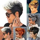 Womens Short Wavy Curly Wig Pixie Boycut Hair Ladies Fashion Synthetic Ombre Wig