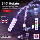 540° MAGNETIC LED Flowing Light up fast Charge USB Cable iPhone/Android/Type C