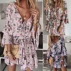 Women's Boho Short Mini Dress Summer Beach Holiday Floral Ruffle Frill Sundress