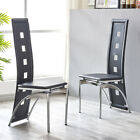 Rectangle Glass Dining Table Set with 2/4/6 Faux Leather Chairs Kitchen Furnitur