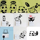 Removable Switch Stickers Cartoon Panda Cat Black Art Wall Decal Home Decoration