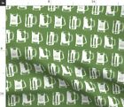 Beer Mugs Mini Bar Ale Brewery Green And White Fabric Printed by Spoonflower BTY