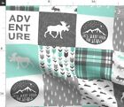 Adventure Moose Woodland Patchwork Plaid Light Spoonflower Fabric by the Yard