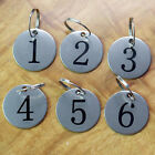 10X Number 1-10 Tags Circle Labels Metal Round Key Ring Stainless Steel Keychain