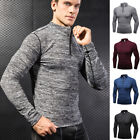 Mens 1/4 Zip Pullover Running T Shirts Long Sleeved Quick Dry Casual Workout Top