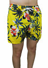 Costume Man Slim Fit Fluorescent Yellow Casual Flower Shorts Boxer Tight