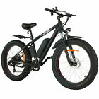 """26"""" Fat Tire Electric Bike 7 Speed Gear Mountain Bicycle 500W 48V Snow eBike NEW"""