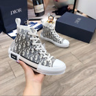 Dior B23 High Top Sneakers in Black and White Dior Oblique Canvas