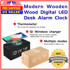 Modern Wooden Wood Digital LED Alarm Thermometer Clock w/ Qi Wireless Charger