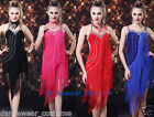 Women Party Ballroom Latin Tango Salsa Dance Dress Fringes Tassel Skirt 4Colors