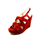 Coral Suedette wedge heel knot front sandals / shoes