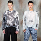 NewStylish Tie-dye see-through long sleeve t-shirts