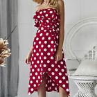 For Womens Polka Dot Dress Summer Beach Holiday Party Slit Wrap Maxi Sundress