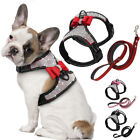 Pet Dog Rhinestone Harness Vest Leash Soft Bowknot Puppy Cat Walking Lead Small