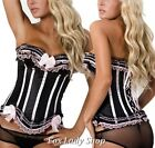 Sexy Lingerie Blk/Pink Satin Corset Bustier Panty S-5XL