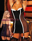 N558 Sexy Lingerie Babydoll Bustiers,2pc,Black/S,M,L,XL