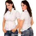 Sexy Blouse Front Zip Up Shirt White Top-S M L XL