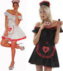 SEXY NURSE FANCY DRESS COSTUME-BLACK or WHITE-SIZE 8-18