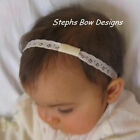 "IVORY 3/8"" DAINTY LACE INTERCHANGEABLE HEADBAND NEWBORN"