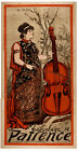 """Vintage POSTER.Stylish Graphics. Double bass""""Patience"""".House Room Decor.1146"""