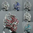 Crystal Rhinestone Fancyball Masquerade Mask Veil Adjustable Finger Ring Size 8