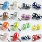 Lot Murano Ceramic Porcelian Big Hole Charms Bead Fit European Handmake Beacelet
