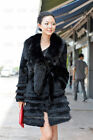 100% Real Genuine Rabbit Hair Fur Coat Whole Fox Collar Wearcoat Jacket Outwear