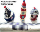 NEW FABRIC NAUTICAL DOOR STOPS, DRAUGHT EXCLUDERS - WELL WEIGHTED - diff designs