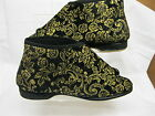 LADIES BOOTY SLIPPERS BLACK AND GOLD FOWERS DESIGN VELCRO FASTERN EDITH