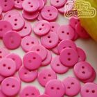 14mm Hot Pink Flat Round Buttons Sewing Scrapbooking Cardmaking Craft