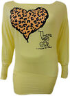 OFF SHOULDER LEOPARD LOVE HEART PRINT SLOUCH DRESS TOP SLOGAN PRINT TOPS 8-16