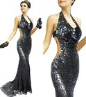 Sexy Ladies Evening Party Prom Formal Gown Wedding Bride Sparkle Dress 6-14 054