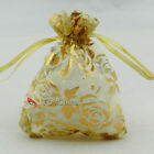 Gold Rose Yellow Organza Wedding Favour Gift Bags Pouches 7x9,9x12,13x17cm