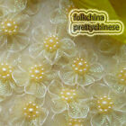 Cream Hard Orange Flower With Beads Sewing Scrapbooking Appliques Trims JMOG