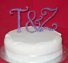 New Monogram GLITTER Cake Toppers Colours RED Black GOLD Blue PINK Purple SILVER