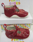 "Clarks Girls Red Leather First Shoes ""IDA DELILAH"" ""G""-Fitting"