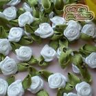 White Satin Ribbon Roses Leaf 15mm Appliques Scrapbooking Sewing JMSRL11