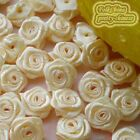 Cream Satin Ribbon Roses 15mm Appliques Scrapbooking Sewing Craft JMSR09