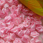 Pink Satin Ribbon Roses 15mm Appliques Scrapbooking Sewing Craft JMSR06
