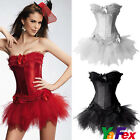 3 Colors!sexy lace up corset bustier+Tutu Skirt+G string Burlesque Costume set