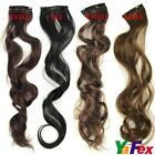 4Color New Long Wavy curl curly Hair Piece Extensions clip in on hair extension