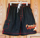 Captain Morgan Seeking First Mate Red Stitch Black Swim Trunks BoardShorts S NWT