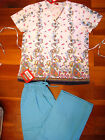 595D Nursing Scrub Set Wrap Style  Printed Top Solid Pants Brest Cancer Pink Bow