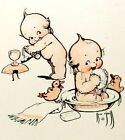 KEWPIE TAKING A BATH FABRIC BLOCK NOT IRON ON YOU CHOOSE SIZE