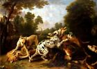 Dogs Fighting Wooden Clearing Picture Reproduction Art Print A4 A3 A2 A1