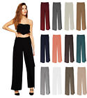WOMENS PALAZZO TROUSERS WIDE LEG FLARED PANTS LADIES-SIZE 8,10,12,14-BNWT-NEW